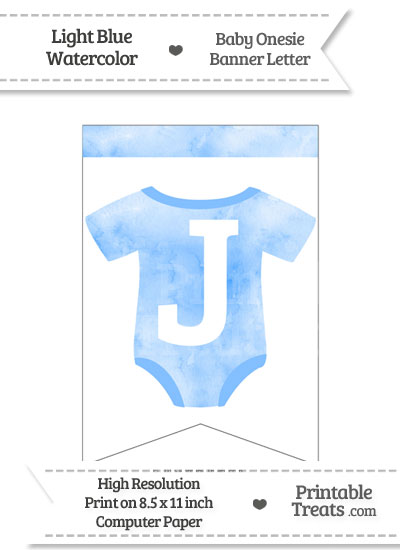 Light Blue Watercolor Baby Onesie Bunting Banner Letter J from PrintableTreats.com
