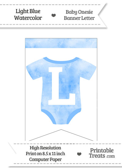 Light Blue Watercolor Baby Onesie Bunting Banner Letter L from PrintableTreats.com