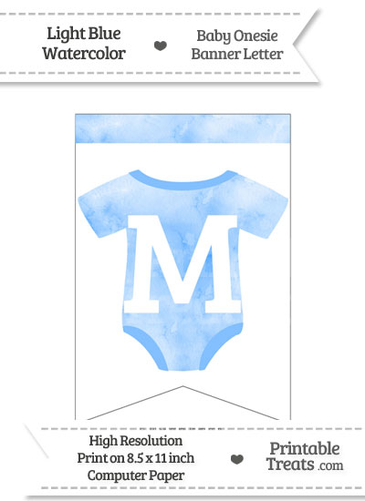 Light Blue Watercolor Baby Onesie Bunting Banner Letter M from PrintableTreats.com