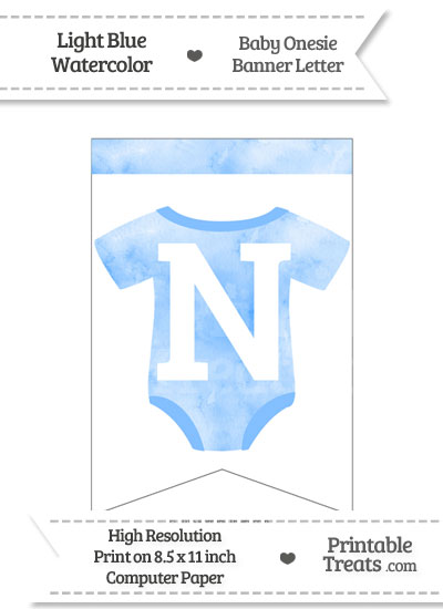 Light Blue Watercolor Baby Onesie Bunting Banner Letter N from PrintableTreats.com