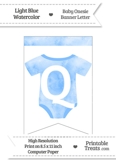 Light Blue Watercolor Baby Onesie Bunting Banner Letter Q from PrintableTreats.com