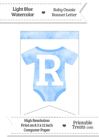 Light Blue Watercolor Baby Onesie Bunting Banner Letter R from PrintableTreats.com