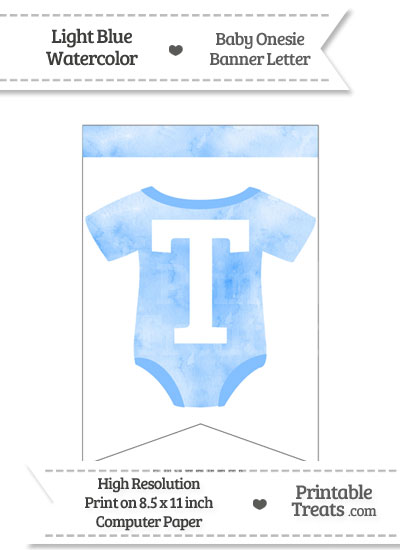 Light Blue Watercolor Baby Onesie Bunting Banner Letter T from PrintableTreats.com