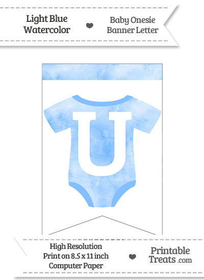 Light Blue Watercolor Baby Onesie Bunting Banner Letter U from PrintableTreats.com