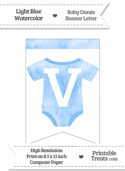 Light Blue Watercolor Baby Onesie Bunting Banner Letter V from PrintableTreats.com