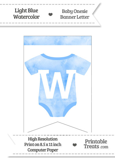 Light Blue Watercolor Baby Onesie Bunting Banner Letter W from PrintableTreats.com
