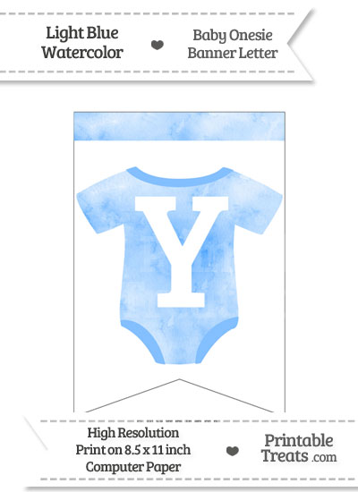 Light Blue Watercolor Baby Onesie Bunting Banner Letter Y from PrintableTreats.com