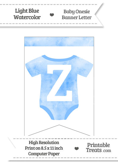 Light Blue Watercolor Baby Onesie Bunting Banner Letter Z from PrintableTreats.com