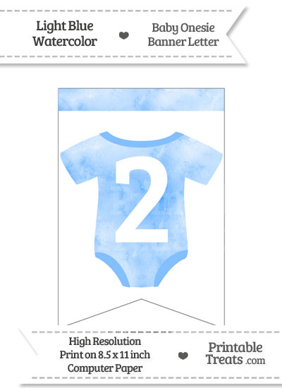 Light Blue Watercolor Baby Onesie Bunting Banner Number 2 from PrintableTreats.com