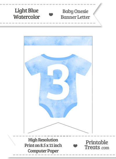 Light Blue Watercolor Baby Onesie Bunting Banner Number 3 from PrintableTreats.com