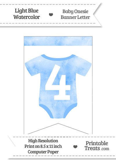 Light Blue Watercolor Baby Onesie Bunting Banner Number 4 from PrintableTreats.com