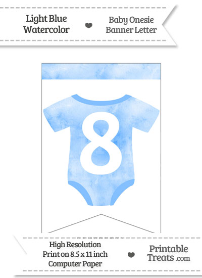 Light Blue Watercolor Baby Onesie Bunting Banner Number 8 from PrintableTreats.com