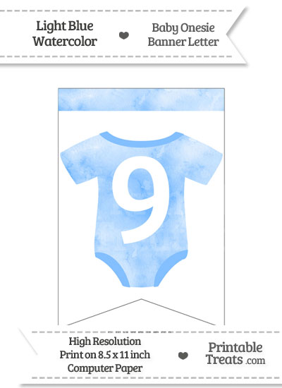 Light Blue Watercolor Baby Onesie Bunting Banner Number 9 from PrintableTreats.com