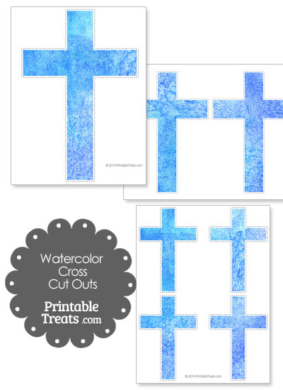 Light Blue Watercolor Cross Cut Outs from PrintableTreats.com
