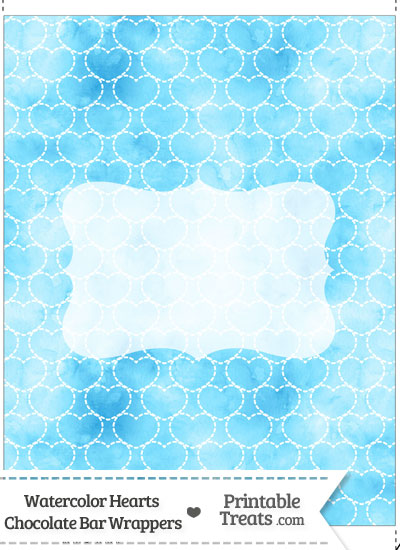 Light Blue Watercolor Hearts Chocolate Bar Wrappers from PrintableTreats.com