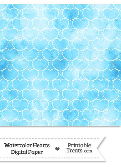 Light Blue Watercolor Hearts Digital Scrapbook Paper from PrintableTreats.com