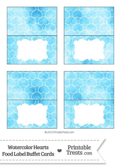 Light Blue Watercolor Hearts Food Labels from PrintableTreats.com