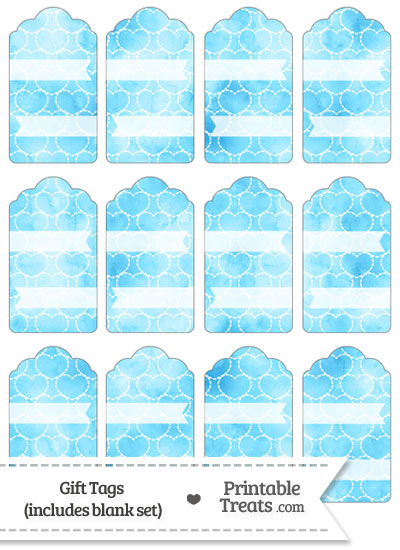 Light Blue Watercolor Hearts Gift Tags from PrintableTreats.com