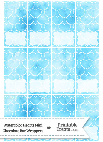 Light Blue Watercolor Hearts Mini Chocolate Bar Wrappers from PrintableTreats.com