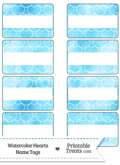 Light Blue Watercolor Hearts Name Tags from PrintableTreats.com