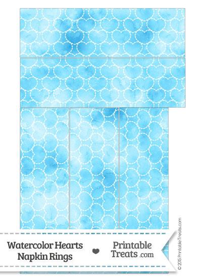 Light Blue Watercolor Hearts Napkin Rings from PrintableTreats.com
