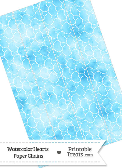 Light Blue Watercolor Hearts Paper Chains from PrintableTreats.com