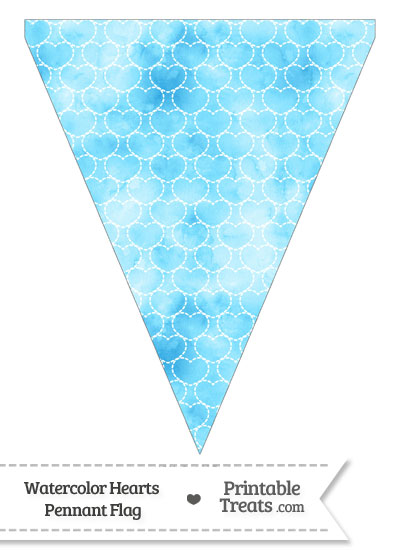Light Blue Watercolor Hearts Pennant Banner Flag from PrintableTreats.com