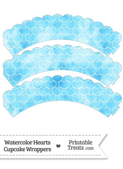 Light Blue Watercolor Hearts Scalloped Cupcake Wrappers from PrintableTreats.com