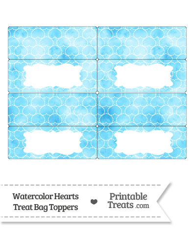 Light Blue Watercolor Hearts Treat Bag Toppers from PrintableTreats.com