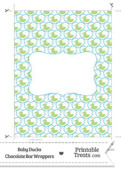 Light Green Baby Ducks Chocolate Bar Wrappers from PrintableTreats.com