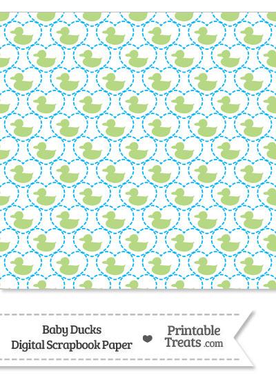 Light Green Baby Ducks Digital Scrapbook Paper from PrintableTreats.com