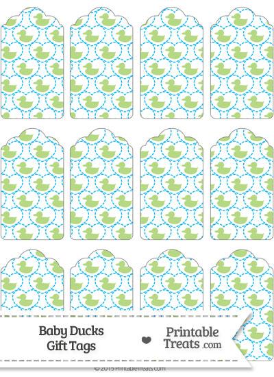 Light Green Baby Ducks Gift Tags from PrintableTreats.com