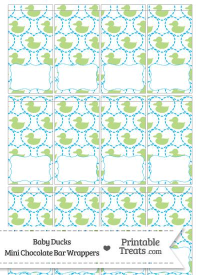 Light Green Baby Ducks Mini Chocolate Bar Wrappers from PrintableTreats.com