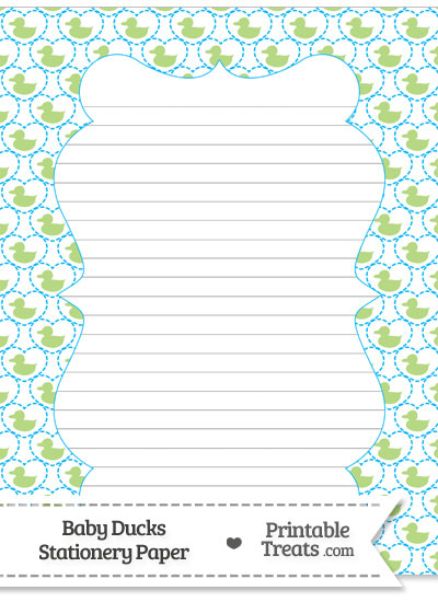 Light Green Baby Ducks Stationery Paper from PrintableTreats.com