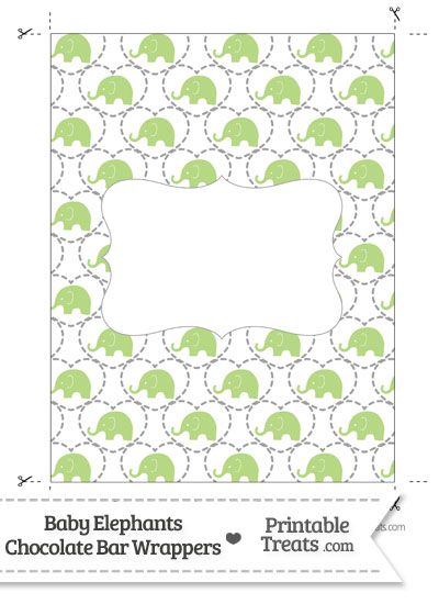 Light Green Baby Elephants Chocolate Bar Wrappers from PrintableTreats.com