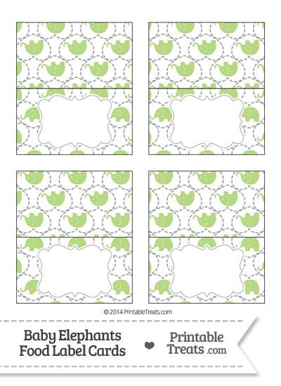 Light Green Baby Elephants Food Labels from PrintableTreats.com