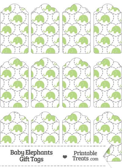Light Green Baby Elephants Gift Tags from PrintableTreats.com