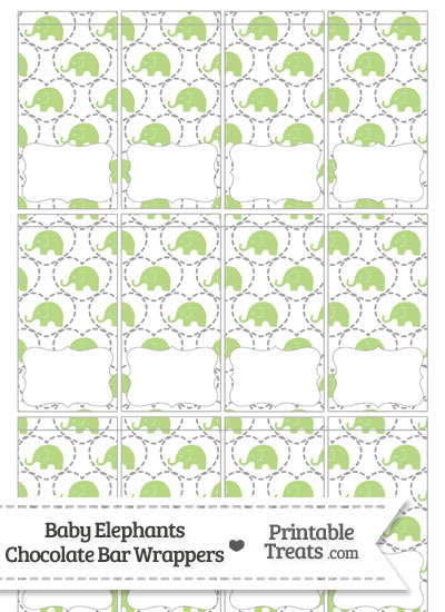 Light Green Baby Elephants Mini Chocolate Bar Wrappers from PrintableTreats.com