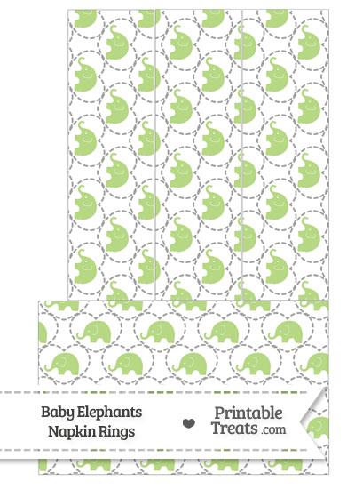 Light Green Baby Elephants Napkin Rings from PrintableTreats.com