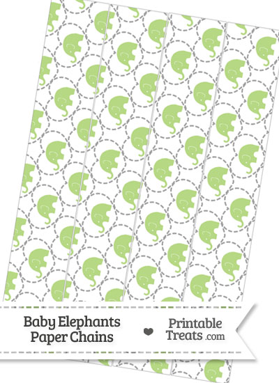 Light Green Baby Elephants Paper Chains from PrintableTreats.com