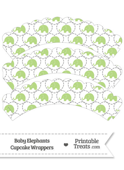 Light Green Baby Elephants Scalloped Cupcake Wrappers from PrintableTreats.com