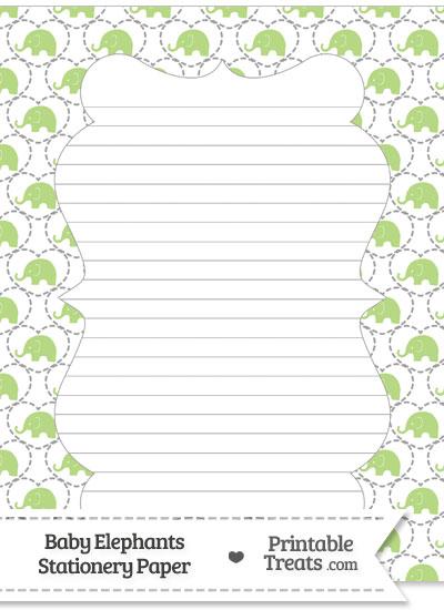 Light Green Baby Elephants Stationery Paper from PrintableTreats.com