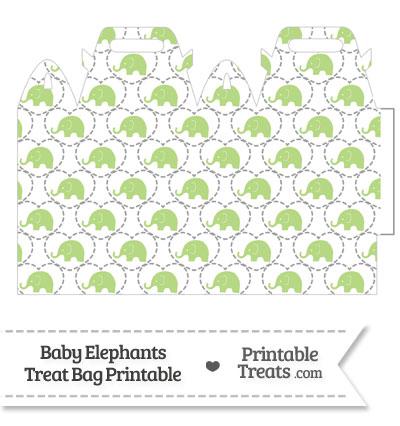 Light Green Baby Elephants Treat Bag from PrintableTreats.com