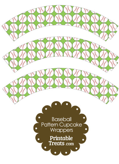 Light Green Baseball Pattern Cupcake Wrappers from PrintableTreats.com