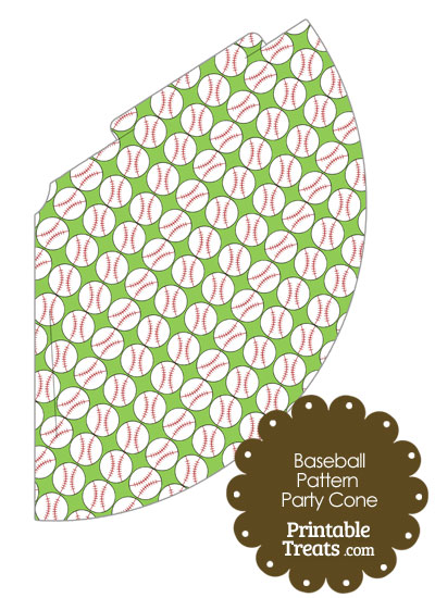 Light Green Baseball Pattern Party Cone from PrintableTreats.com