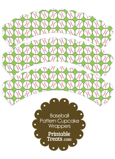 Light Green Baseball Pattern Scalloped Cupcake Wrappers from PrintableTreats.com