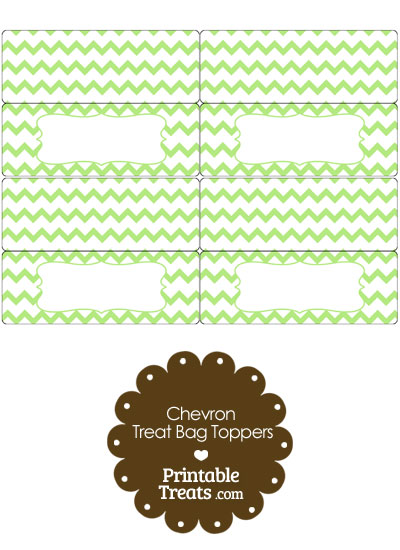 Light Green Chevron Treat Bag Toppers from PrintableTreats.com