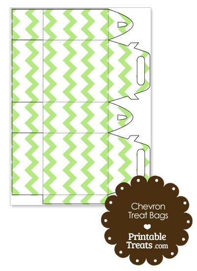 Light Green Chevron Treat Bags to Print from PrintableTreats.com