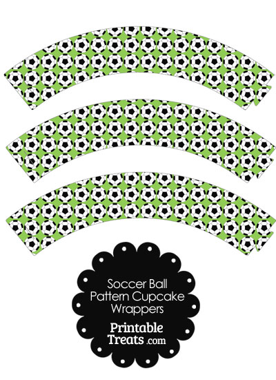 Light Green Soccer Ball Pattern Cupcake Wrappers from PrintableTreats.com