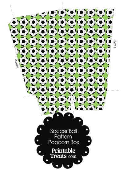 Light Green Soccer Ball Pattern Popcorn Box from PrintableTreats.com